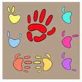 Set of hands and fingers gestures icons on beige background. Colorful collection of hands gestures icons. Flat style, symbols for design. Hand, victory, rock Stock Image