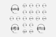 Set of hands free headsets with  politics, democracy, diplomacy Royalty Free Stock Photos