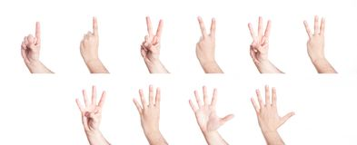 Set of hands gesturing numbers, on white . Set of hands gesturing numbers, on white background Stock Images