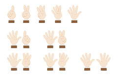 Set of hands gesturing and showing numbers Royalty Free Stock Photography