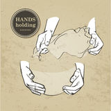 Set of hands. Hand holding collection - vector illustration Stock Images