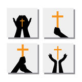 Set of hands holding christian cross - vector icons. This also represents people praying to god, seeking blessings from jesus Royalty Free Stock Image