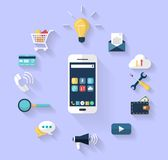 Set of hands holding digital tablet and mobile phone. Work concept - business concept -white smart-phone int the centre and a Set of flat design icons for Royalty Free Stock Image