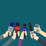 Set of hands holding microphones and digital voice recorders Royalty Free Stock Photography