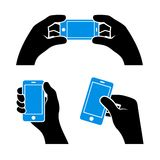 Set of Hands Holding Smart Phone, Vector Stock Photography