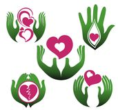 Set of hands holding symbol of love Stock Photo