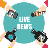 Set of hands holding voice recorders, microphones, camera. Live Stock Images