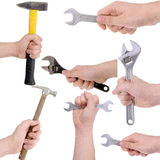 Set of hands holding working tools Stock Photography