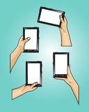 Set of hands holds mini tablet with different styles. Set included : hands holds black mini tablet with white screen Royalty Free Stock Image