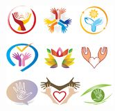 Set of Hands Icons / Collection Decorative Logo Elements Stock Photography