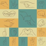 Set of hands icons in different interpretations. Royalty Free Stock Photos