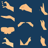 Set of hands icons and symbols, different hands,  illustration. Stock Photo