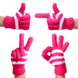 Set of Hands in Knitted Gloves isolated on white. Thumb Up, Pointing, Victory, Ok Sign Royalty Free Stock Photography
