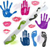Set hands, lips, foots, footsteps prints Stock Photo