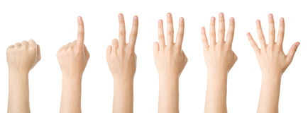Set of hands making the numbers royalty free stock images