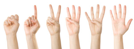 Set of hands making the numbers Royalty Free Stock Photos