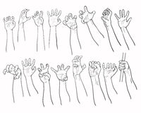 Set of hands in many gesture Royalty Free Stock Photos