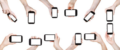 Set of hands with mobile phones isolated Stock Photo