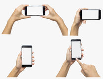 Set of hands with mobile smart phone with blank screen isolated Stock Photos