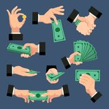 A set of hands with dollars, coins, money on a dark blue background. Finance concept. Vector illustration. A set of hands with money. Hands holding dollars and Stock Photography