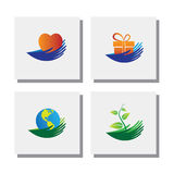 Set of hands of nature love, protect environment - vector icons Stock Photos