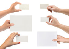 Set of hands with paper card Stock Photography