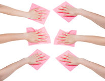 Set of hands with pink fabric rags isolated. On white background Royalty Free Stock Image