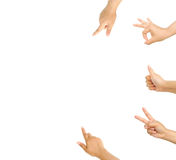 Set of hands pointing and accepting Royalty Free Stock Photo