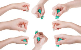 Set of hands with rubber eraser close up isolated Stock Photo