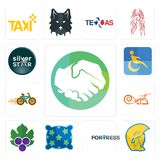 Set of hands shaking, warrior head, fortress, pillow, grape leaves, carpet, bike shop, disability, silver star icons. Set Of 13 simple editable icons such as Stock Photo
