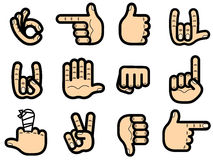 Set of hands shows gesture ok, victory, and so on Stock Photo