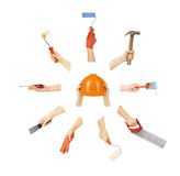 Set of hands with tools Royalty Free Stock Photography