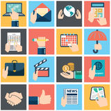Set of hands using business internet service and ecommerce . Smartphone and tablets Royalty Free Stock Photo