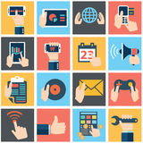 Set of hands using business internet service and ecommerce . Smartphone and tablets Stock Image