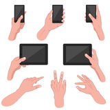 Set of hands using mobile devices. Vector illustration of mans hand using smart phone, tablet, mobile Royalty Free Stock Image