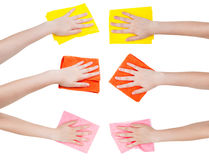 Set of hands with various rags isolated Royalty Free Stock Photos
