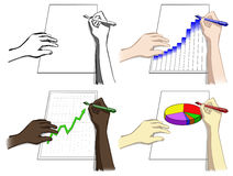 Set of hands, writing, drawing diagrams Stock Photos