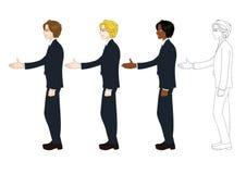 Set Handsome Business Man Giving Hand for Handshake. Full Body vector illustration