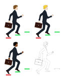 Set Handsome Business Man holding a Brief Case while Running to Goal. Full Body Vector Illustration. Royalty Free Stock Images