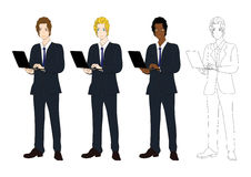 Set Handsome Business Man with Laptop. Full Body Vector Illustration Stock Photos