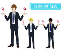Set Handsome Business Man Making Selection with Happy Face. Full Body Vector Illustration. Stock Image