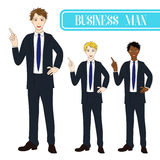 Set Handsome Business Man Pointing Up. Full Body Vector Illustration. Stock Image