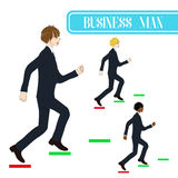Set Handsome Business Man Running to Goal. Full Body Vector Illustration. Royalty Free Stock Photos