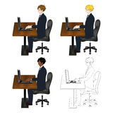 Set Handsome Business Man Sitting with Laptop. Full Body stock illustration