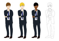 Set Handsome Business Man Thinking to Make Decision. Full Body Vector Illustration. Royalty Free Stock Photography