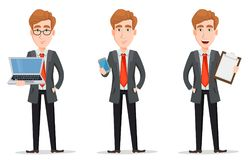 Set with handsome businessman in suit. Business man with blond hair, cartoon character. Set with handsome businessman in suit holding laptop, holding smartphone Stock Photography