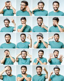 Set of handsome emotional man Stock Images
