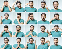 Set of handsome emotional man Stock Photos