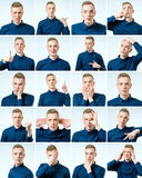 Set of handsome emotional man isolated Stock Photography