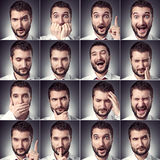 Set of handsome emotional man Royalty Free Stock Images